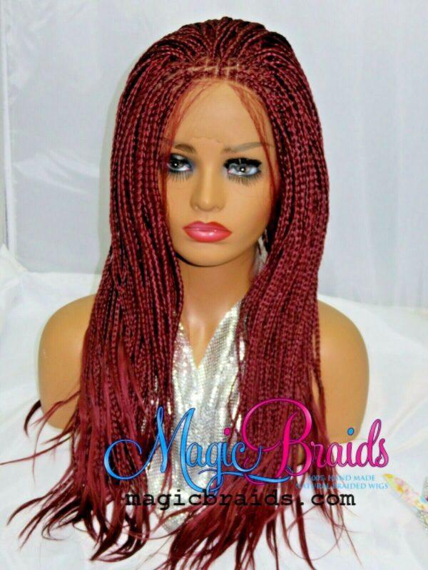 red wig box braids wig long