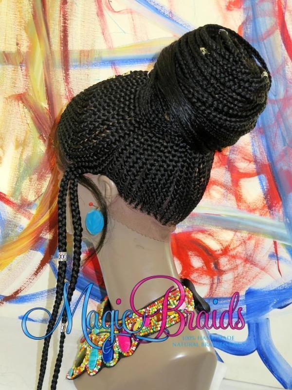 hand braided wig corn row ponytail wig