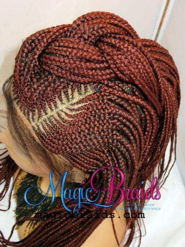red braided wig frontal