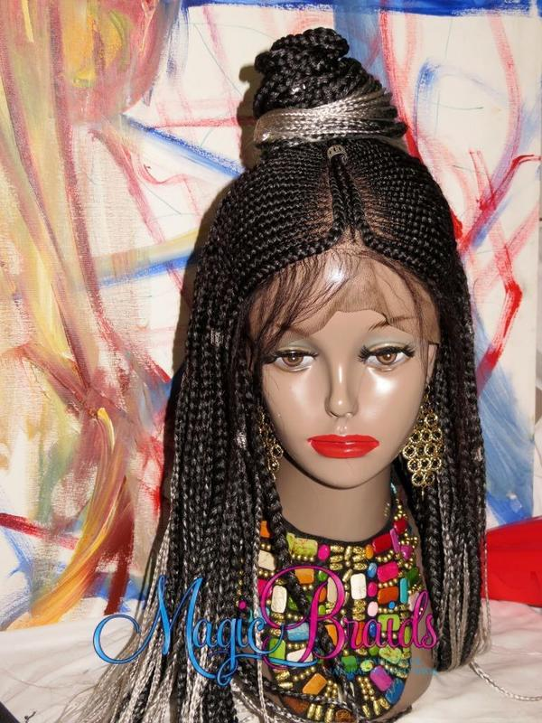 ombre black white wig long