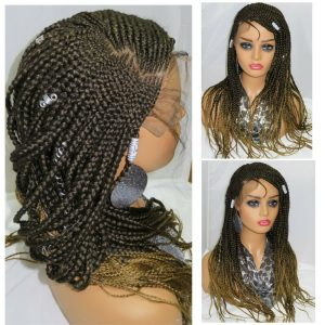 """4"""" by 4"""" Closure Ghana Weaving Braided Wig Summer Style Lace Front Ombre Wig"""