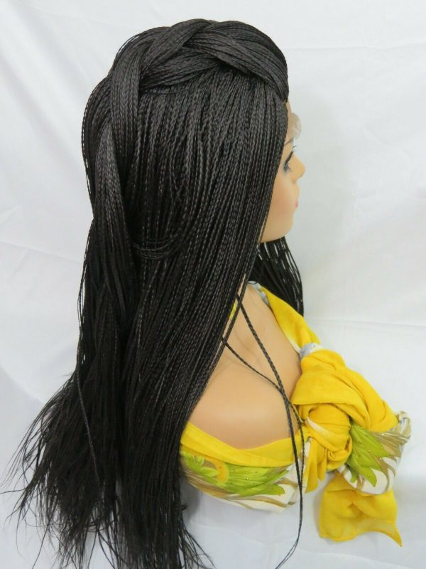 Black wig Braided wig Long wig 100% hand made Micro millions braids full head