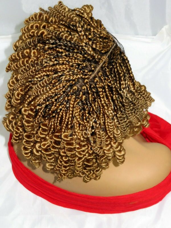 """Blonde Braided Wigs ombre Wig Handmade 4"""" by 4"""" Lace Front Cornrows Short Wig"""