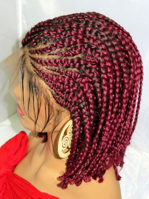 """Handmade Braided lace wig 13"""" by 6"""" lace closure Feed in cornrows red wig short"""