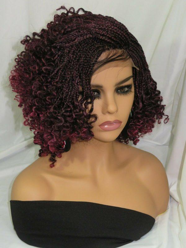Gorgeous braided red wig 100% hand made NWOT Short wig color red black kinky