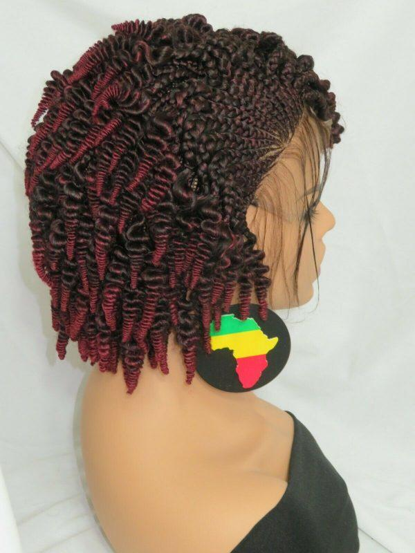 braided wig Gorgeous braided lace wig 100% hand made short cornrows red black