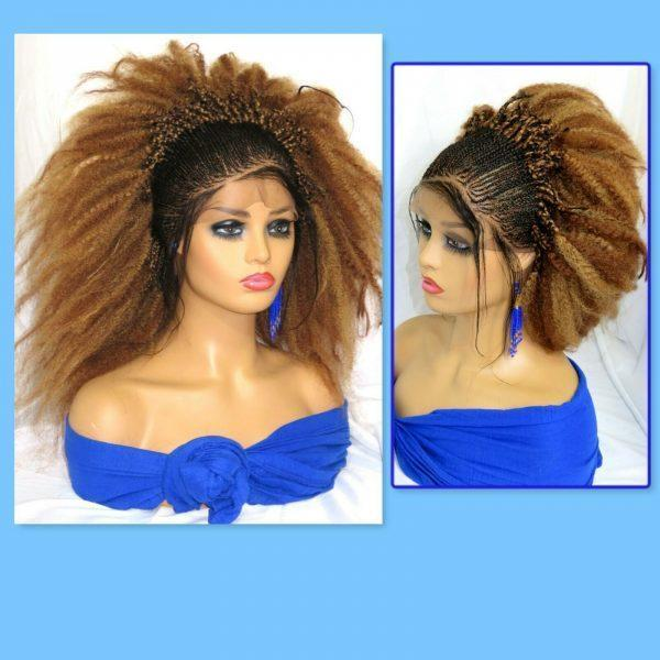 """Blond wig Braided lace wig 13"""" by 4"""" lace closure Feed in cornrows Handmade NWT"""