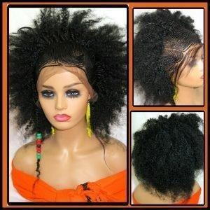 """Braided lace front wig, Feed in cornrows, 13"""" by 4"""" lace closure, Handmade NWT,"""