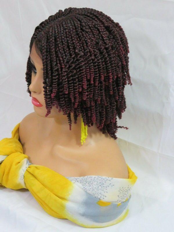 Braided lace front wig, Handmade, feed in braids, Short wig, Bob wig, red, NWT