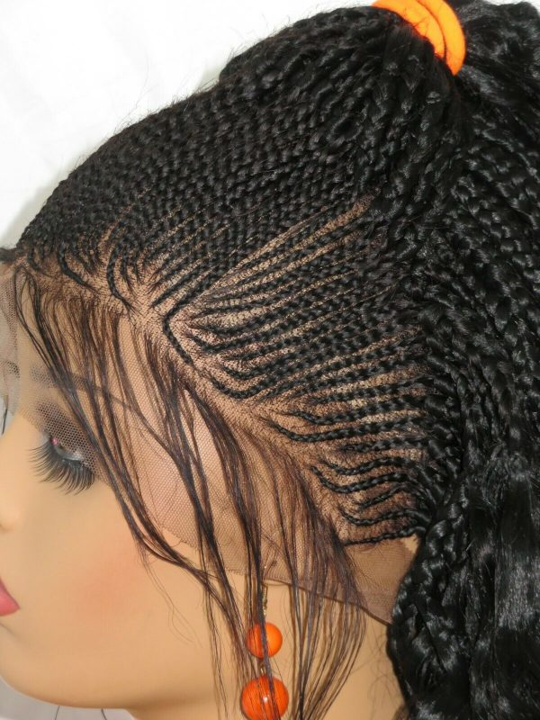 """Ghana weaving Braided lace wig 13"""" by 4"""" lace closure Feed in cornrows Handmade"""