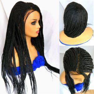 Beautiful braided wig,100% handmade cornrows with box braids Long Black wig NWOT