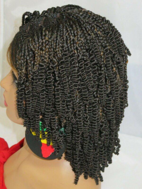 "black wig, feed in Cornrows Handmade Braided Wigs Black Wig 4"" by 4"" Short Wig"