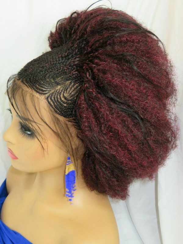"""red wig, Feed in cornrows, Braided lace wig 13"""" by 4"""" lace closure, Handmade NWT"""