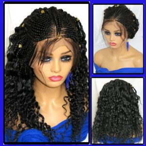 """black wig Braided lace wig 13"""" by 4"""" lace closure Feed in cornrows Handmade"""
