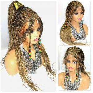 """Blond wig 13"""" by 6"""" Frontal Closure handmade Braided Wig Lace Front Cornrows"""