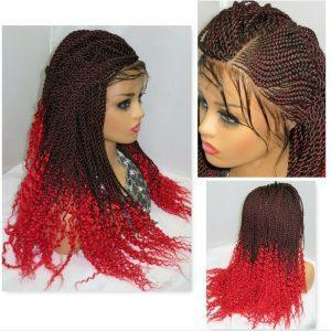 """Frontal Closure Wig Braided Wig Ghana Weaving 13"""" by 4"""" Lace Front Handmade"""