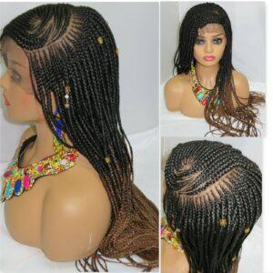 "Braided Lace Closure Wig 13"" by 6"" Frontal Handmade Cornrows Fulani Braids"