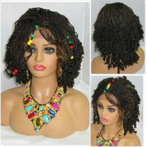 """Handmade Braided Wigs Brown Wig 4"""" by 4"""" Lace Front Short Wig for Black Women"""