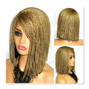 Blond Wig Bob Cut Style Handmade Braided Wigs Lace Front Short Wig Deep Part