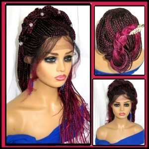 Braided lace front wig red wig Feed in cornrows 100% Handmade Long Gorgeous NWT