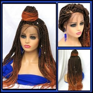 Braided wig lace closure ombre wig Handmade long braids colored wig gorgeous
