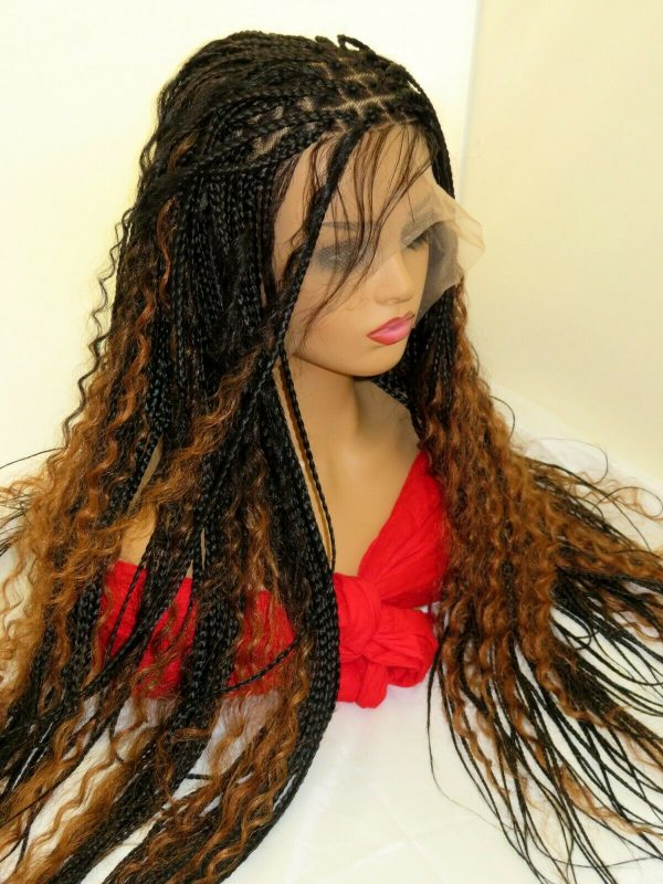 Boho Braids Braided wig Knotless braids lace frontal braids black wig box braids