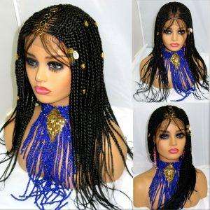 """Black wig Braided lace wig 4"""" by 4"""" lace closure Handmade feed in cornrows Long"""