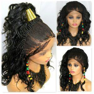 """Braided lace wig 4"""" by 4"""" lace closure Handmade Ghana weaving feed in cornrows"""