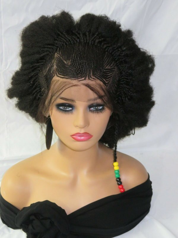 """Black wig Braided lace wig 13"""" by 4"""" lace closure Feed in cornrows Handmade NWT"""