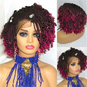 """Braided Wigs ombre Wig Handmade 4"""" by 4"""" Lace Front Cornrows Short Wig red wig"""