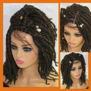 braided wig Kinky twist short 100% hand made color 4/30 braided wig Chemo wig