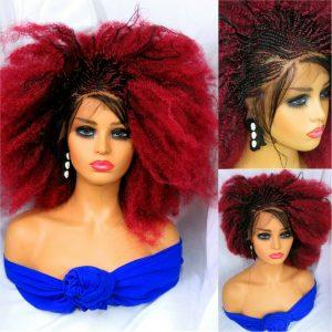 Red wig, 100% handmade Braided wig one side cornrows Short wig NWOT gorgeous
