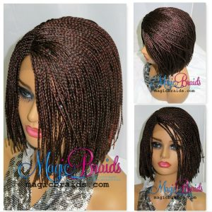 Braided wigs Red Wig Bob Cut Style Handmade Lace Front Short Wig Deep Part