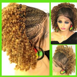 """blond wig Braided lace wig 13"""" by 4"""" lace closure Feed in cornrows kinky short"""
