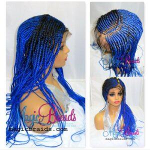 "Blue Lace Closure Wig 13"" by 4"" Frontal Handmade Braided Wig Fulani Braids"