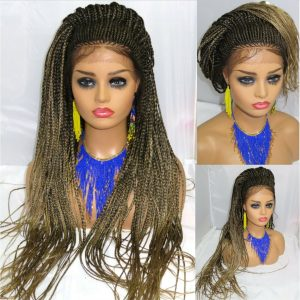 Fulani Braids Handmade Lace Front Wig Cornrows Braided Wig Long Ombre Wig