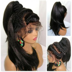 """Braided lace closure 13"""" by 6"""" wig Goddess braids and tree braids black wig long"""
