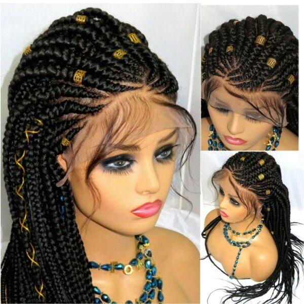 "Ghana Weaving Fulani Braids Braided Lace Closure 13"" by 6"" Handmade Black"