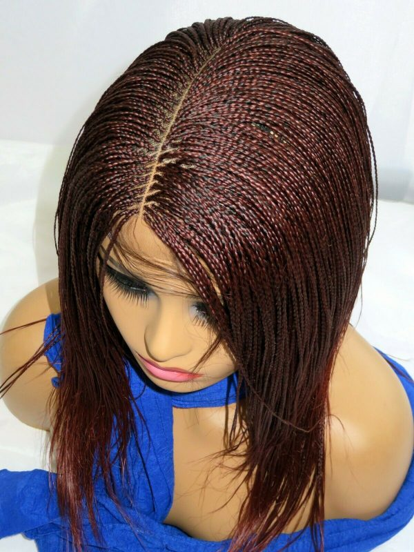 """Braided lace front Wig red Wig Long Micro Millions Braids 2"""" by 6"""" deep part"""