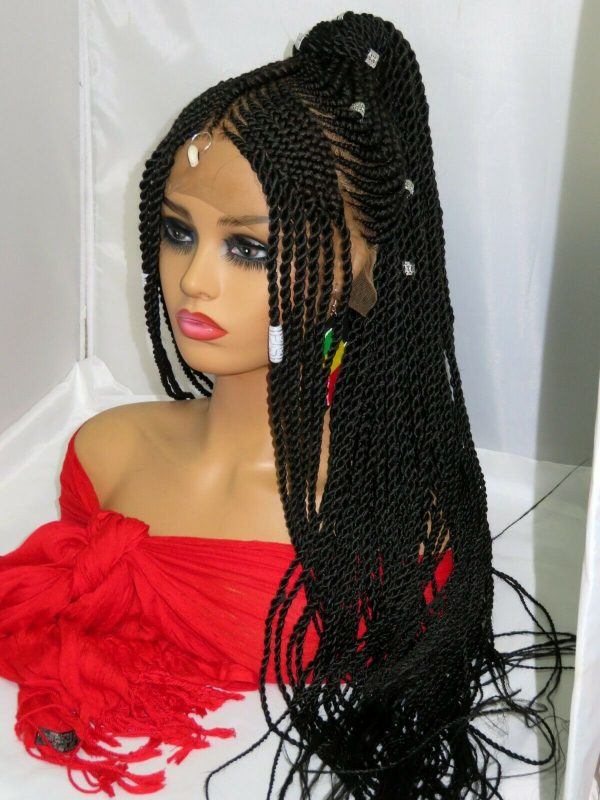 """Black wig 13"""" by 6"""" Frontal Closure handmade Braided Wig Lace Front Cornrows"""