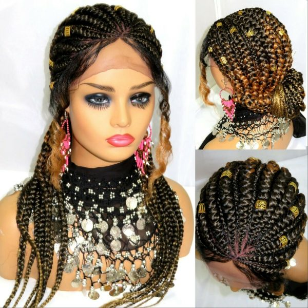 """Braided lace front wig 4"""" by 4"""" lace wig Ghana weaving feed in cornrows long"""