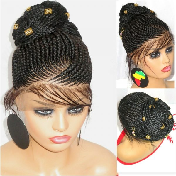 Braided lace Wig Lace closure Cornrows Black wig handmade with permanent bun