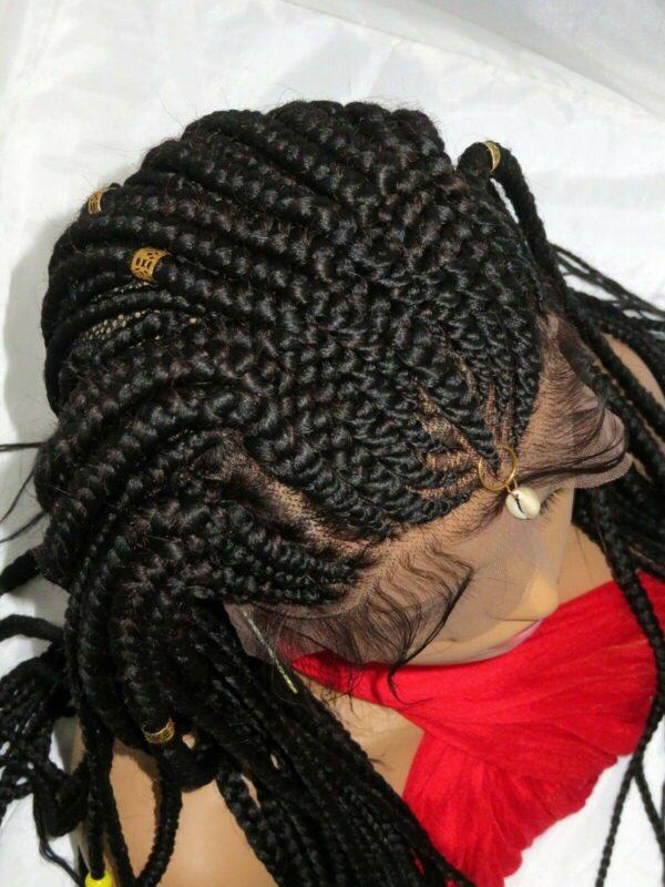 "Fulani Braids Ghana Weaving Braided Lace Closure 13"" by 6"" Handmade Black"