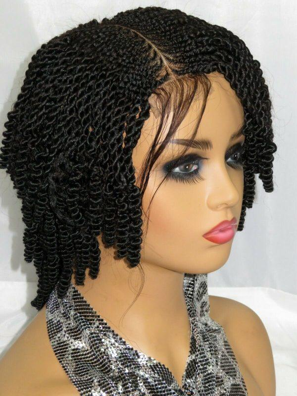 """Lace Front feed in Cornrows Handmade Braided Wigs Black Wig 4"""" by 4"""" Short Wig"""