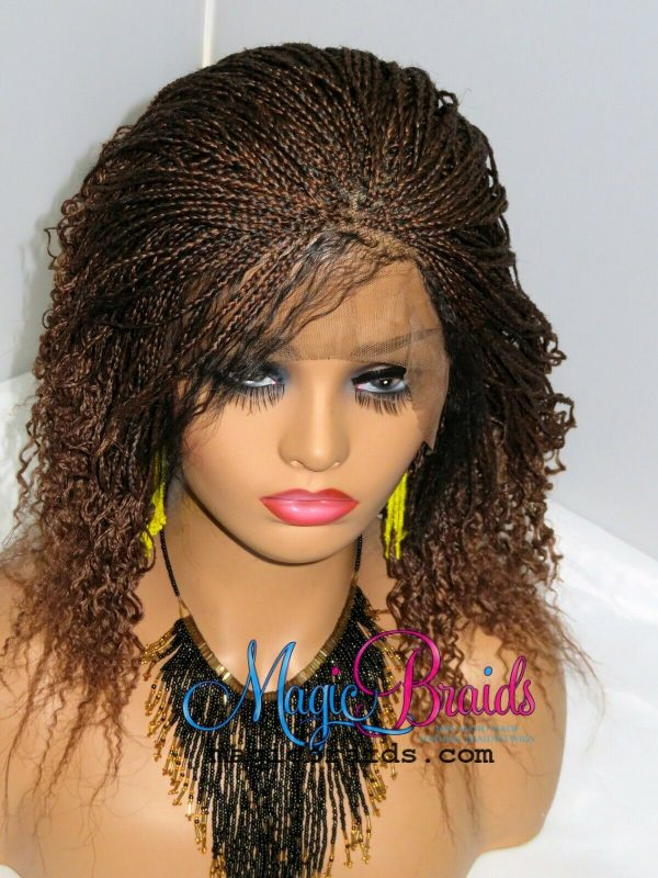 Braided Wig Micro Millions Braids Short auburn Wig Braided Lace Front Ombre wig