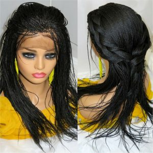 Braided lace Wig 360 lace closure black Wig Long Micro Millions Braids handmade