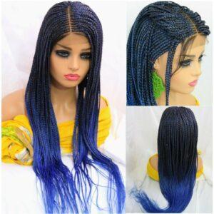 "Braided Wig 4"" by 4"" lace closure cornrow braid Handmade Long colored Wig blue"