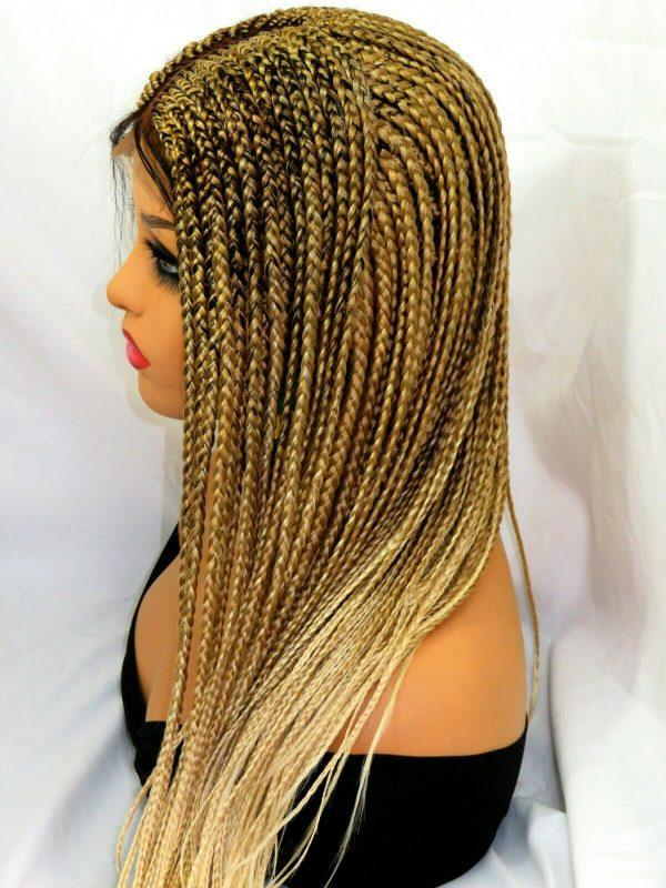 """Hand made braided lace wig 4"""" by 4"""" frontal closure wig, color 27/613 Long ombre"""