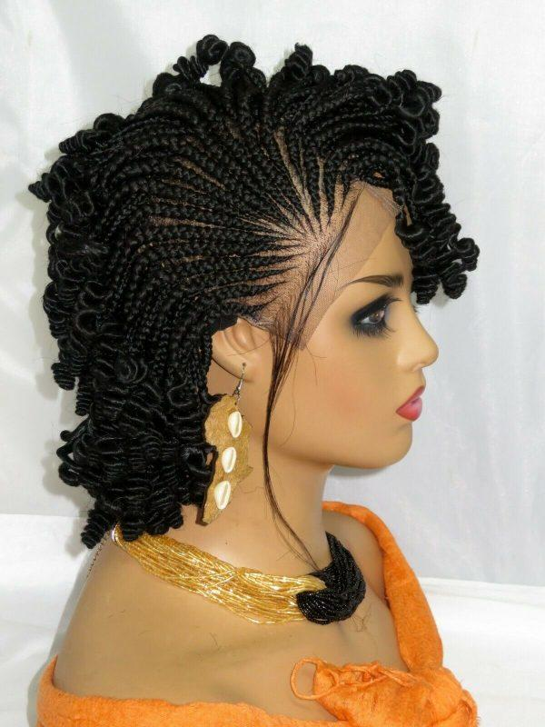 """Handmade Braided Wigs Black Wig 4"""" by 4"""" Lace Front feed in Cornrows Short Wig"""